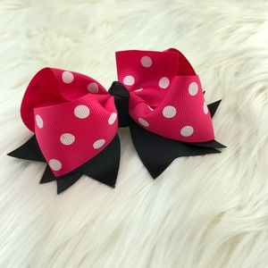 Accessories - Head bow polka dots Grosgrain w/ alligator clips